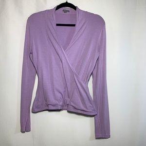 ANN TAYLOR purple wrap sweater